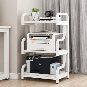 PUNCIA 3-Tier Multi-Purpose Printer Stand with Anti-Skid Pads (White)