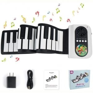 Roll Up Piano 49 Keys Piano Keyboard Portable Electric Piano Keyboard with Built-in Loud Speaker, Best Gift for Kids