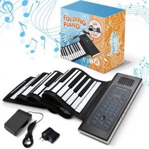 Roll Up Piano Folding Portable Keyboard With Pedal | 61Keys | Music Gifts for Women Men Girl Boys Kids | Educational Toys Gift Set | Digital Beginner Piano
