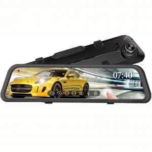 "WOLFBOX 12"" Mirror Dash Cam Backup Camera,1296P Full HD Smart Rearview Mirror for Cars, Sony Sensor,Front and Rear View Dual Lens, Night Vision, LDWS, Parking Assistance"