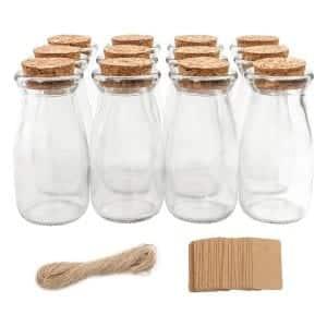 CUCUMI 12 Pcs 4 x 2 Inches Glass Milk Bottles