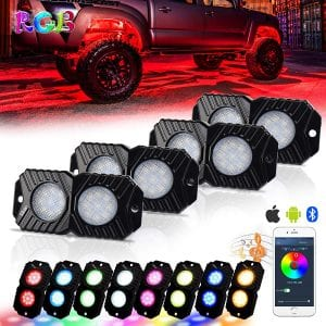 RGB Rock Lights, Waterproof 4 Pods led rock lights, White Rocklights with Music Mode for Jeep, Truck, ATV, SUV, UTV