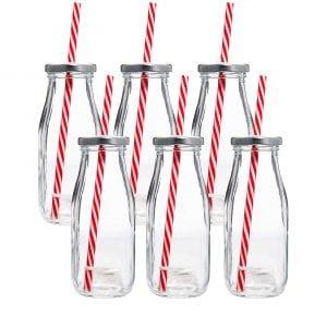 Estilo Dairy Reusable Glass Milk Bottles, Pack of 6