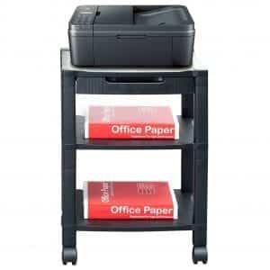 Mind Reader Printer Stand with Wheels -3 Shelves, Black