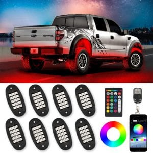 TACHICO RGB LED Rock Lights with APP:Double RF Remote Control,120 LEDs Multicolor Underglow Neon IP68 Flashing Music Timing Mode Light Kits