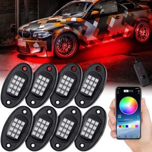 Waterproof LED RGB Rock Lights Phone Remote Timing Music Mode Multicolor Neon LED Light Kit Waterproof AUTO Wheel Exterior Underglow Lighting Compatible