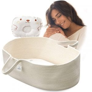 ICEBLUE HD Moses Basket Cotton Rope Specious Newborn Cradle Bassinet Baby Nest Bed Travel Bed Baby Shower Gift with Portable Handles