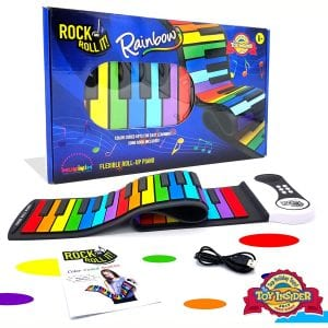 MUKIKIM Rock and Roll It - The Original Rainbow Piano. Play-by-Color Songbook Included! Flexible, Completely Portable, 49 Standard Keys