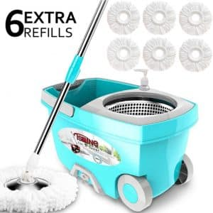 Tsmine Spin Mop Bucket with 6 Microfiber Replacement Heads