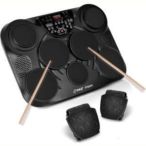 Pyle Portable Drums, Tabletop Drum Set, 7 Pad Digital Drum Kit, Touch Sensitivity, Wireless Electric Drums, Drum Machine, Electric Drum Pads, LED Display, Mac & PC
