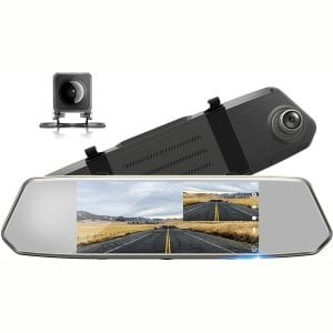 "TOGUARD Backup Camera 7"" Mirror Dash Cam Touch Screen 1080P Rearview Front and Rear Dual Lens with Waterproof Reversing Camera"