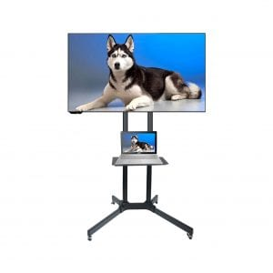 Husky Mount Portable TV Stand with Heavy Duty Wheels