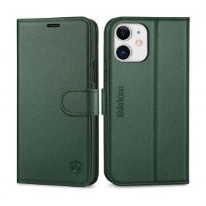 SHIELDON iPhone 12 Pro 5G Case, Genuine Leather Wallet Folio Case
