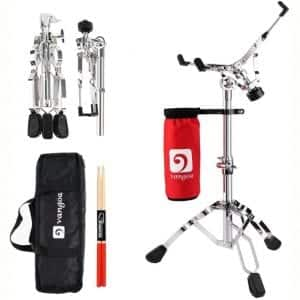 Snare Drum Stand Lightweight Snare Stand Double Braced Adjustable Height with Drum Stick Holder, Padded Carrying Bag and Drumsticks Fit