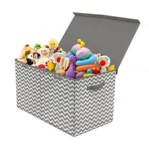 Sorbus Chevron Gray Home Organization Kids Toy Chest