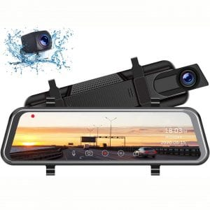 "TOGUARD Mirror Dash Cam, Upgraded 10"" Dual 1080P FHD Car Camera Dash Cam Front and Rear with Waterproof Backup Camera, IPS Full Touch Screen Video Streaming Rear View"