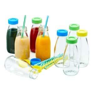 Hayley Cherie 10 Oz Glass Milk Bottles