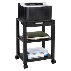 MOUNT IT! 3-Tier Mobile Printer Stand with a Drawer(Black)