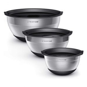 PriorityChef Set of 3 Stainless-steel Mixing Bowls