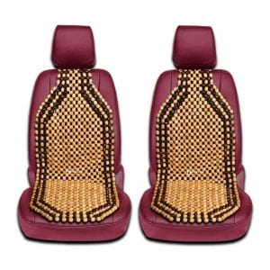 Zento Deals 2 Pieces of Natural Wooden Beads Back Massage Cushion