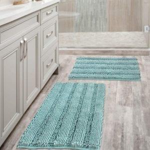 H.VERSAILTEX Non-Slip Bathroom Rugs, Eggshell Blue