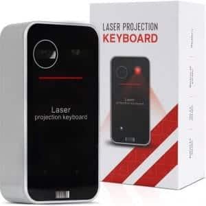 Dartle Wireless Laser Keyboard - Mini Bluetooth Wireless Keyboard & Wireless Mouse Touchpad | Portable Full Size Keyboard for Tablet, Laptop