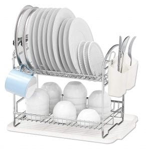 Simple Houseware Dish Rack with Drainboard (Chrome)