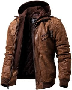 FLAVOR Brown Leather Men Motorcycle Jacket with Hood