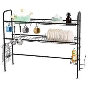 HEOMU SUS304 2-Tier Stainless Steel Dish Rack, Black