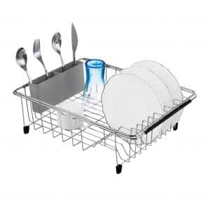 iPEGTOP Expandable Stainless Steel Dish Rack w/ Removable Silverware Holder