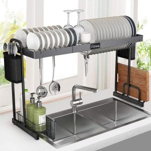 G-TING Expandable Stainless Steel Dish Rack with Utensil Holder
