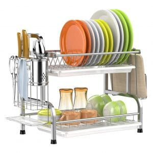 GSlife 2-Tier Stainless Steel Dish Rack with Drainboard (Silver)