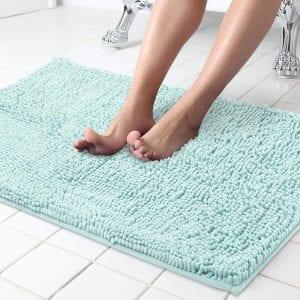 ITSOFT Non-Slip Soft Bath Mat, Machine Washable (Blue)