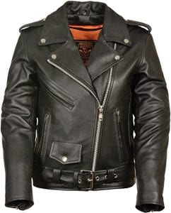 Milwaukee Leather Plain Sides Motorcycle Leather Jacket for Ladies