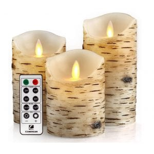 Comenzar Remote Timer Birch Bark Flickering Candles