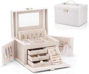 Vlando Wooden Jewelry Box – Pearl White