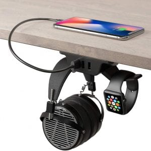 HumanCentric Black Headphone Stand w/ USB Charger