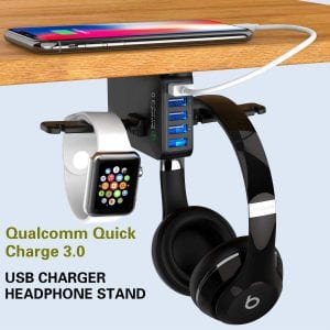 Yostyle Under Desk Headphone Stand with USB Charger